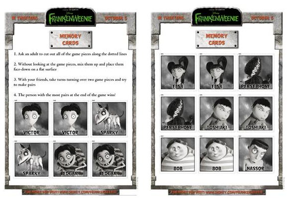 FRANKENWEENIE | Memory Cards Game, in Theaters October 5, 2012