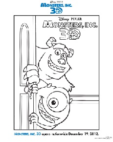 MONSTERS, INC. 3D: Activity Sheets, Returns to Theaters December 19, 2012!