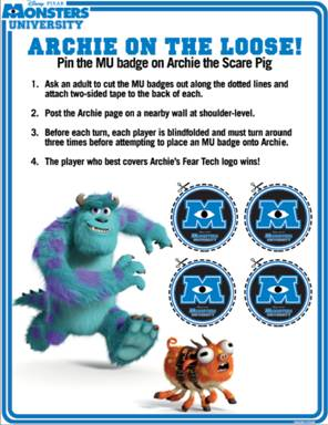 MONSTERS UNIVERSITY – *NEW* Activity Sheets, in theaters June 21, 2013! #MonstersU