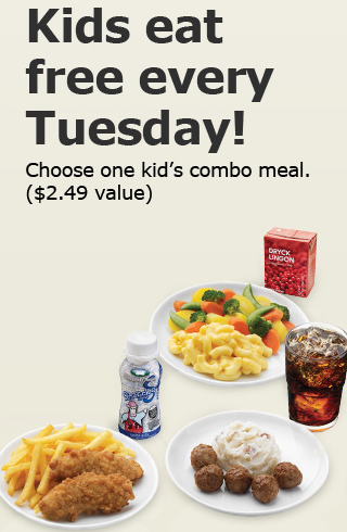 IKEA Kids Eat Free Tuesdays. Get up to two kids meals with purchase of one adult entrée. Kids 12 and under. Wednesday. JJ's Red Hots All three locations Wednesdays kids 12 and under. Two free kids meals per one adult combo purchased. Fort Mill Carolina BBQ Kids 10 and under get a free kid's meal with the purchase of an adult entrée and a.