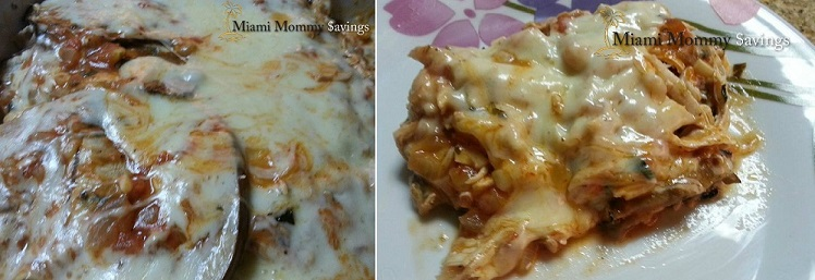 Eggplant Lasagna with chicken in red sauce