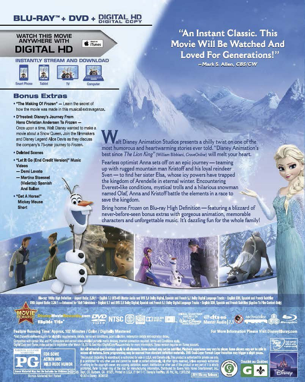 Frozen Two-Disc Blu-ray, DVD + Digital Copy Review ... | 603 x 755 png 1002kB