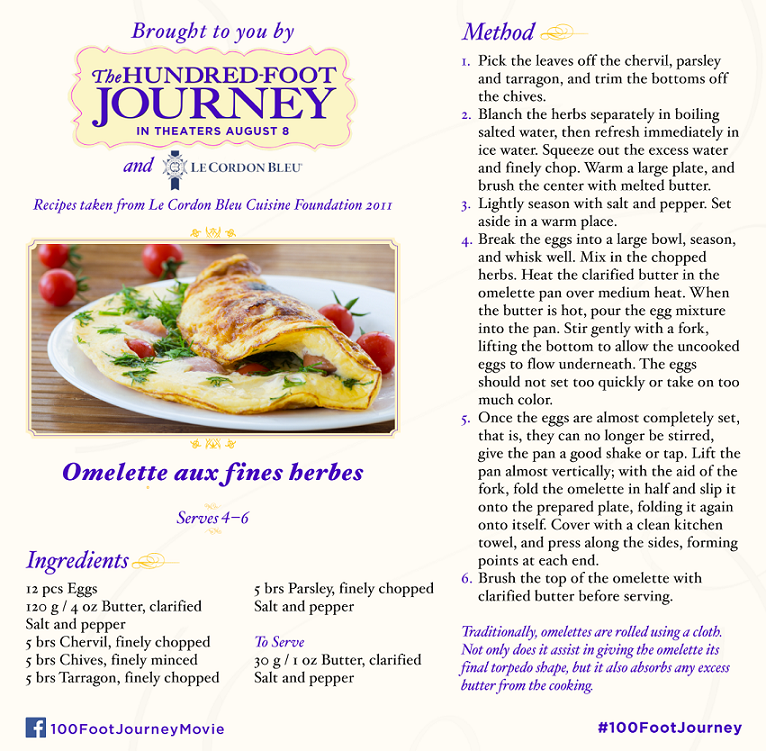 DreamWorks Pictures' The Hundred-Foot Journey: Omelette aux fines herbes recipe, in Theaters August 8, 2014! #100FootJourney