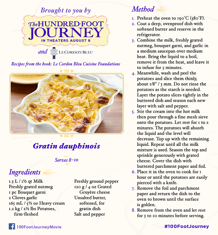 DreamWorks Pictures' The Hundred-Foot Journey: Scalloped Potato recipe, in Theaters August 8, 2014! #100FootJourney