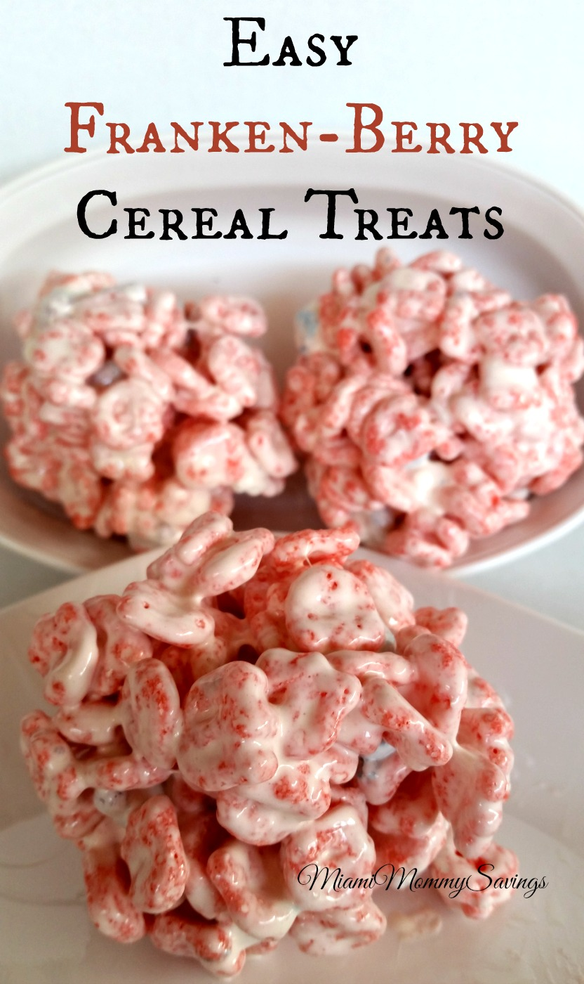 Create these Easy Franken-Berry Cereal Treats Recipe just in time for Halloween. Get the recipe at CleverlyMe.com