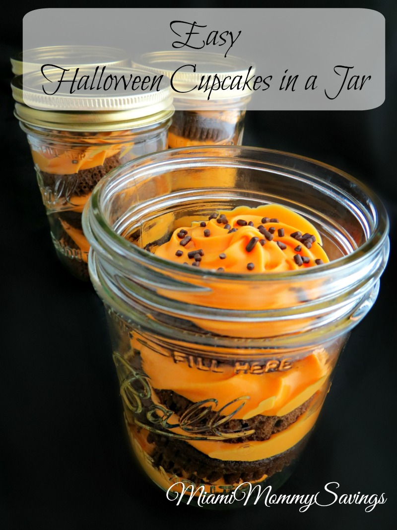 Make this Easy Halloween Cupcakes in a Jar Recipe just in time for Halloween. Get the recipe at CleverlyMe.com