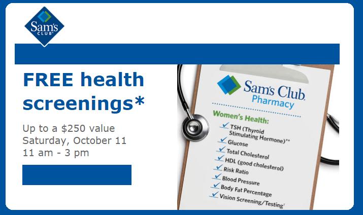 Sam's Club: Free Women's Health Screenings on Saturday, October 11, 2014!