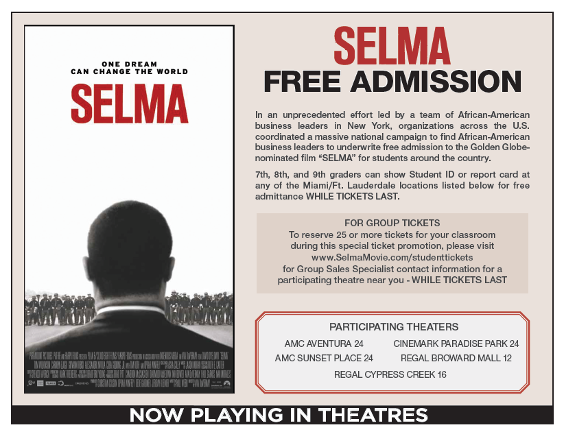 FREE Admission to the movie Selma for South Florida 7th, 8th, and 9th Graders!