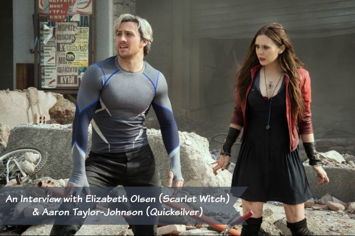 An Interview with Elizabeth Olsen (Scarlet Witch) & Aaron Taylor-Johnson (Quicksilver) From Avengers: Age of Ultron, more at MiamiMommySavings.com