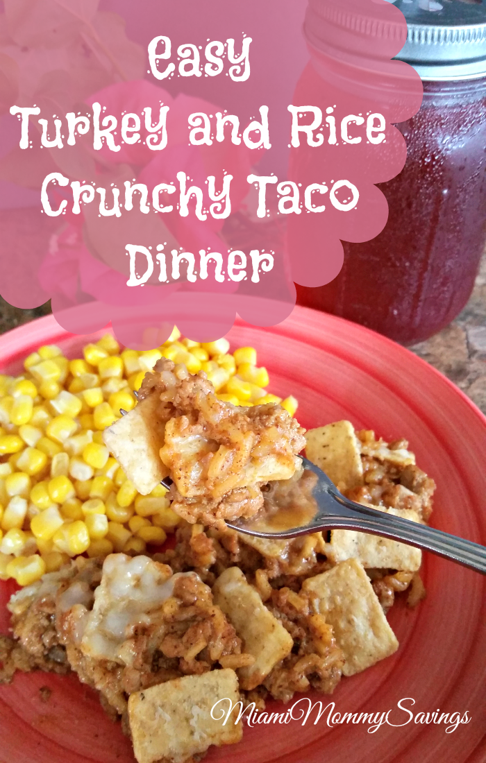 Easy Turkey and Rice Crunchy Taco Dinner, more at MiamiMommySavings.com