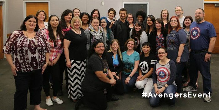 Exclusive Interview with Jeremy Renner & Cobie Smulders #AvengersEvent Group Pic