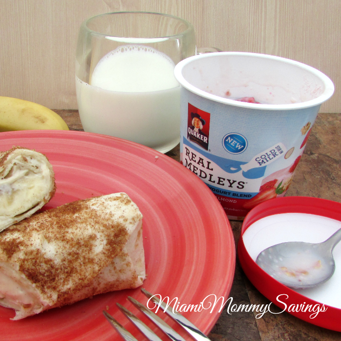 Banana and Cream Cheese Breakfast Burrito Recipe, more at MiamiMommySavings.com