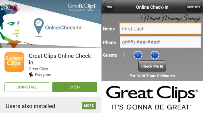 Great Clips Online Check in App, more at MiamiMommySavings.com