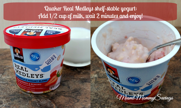 Quaker Real Medleys shelf stable yogurts, more at MiamiMommySavings.com