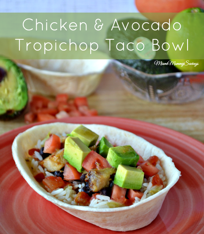 This easy and ready in minutes Chicken and Avocado Tropichop Taco Bowl recipe combines rice, diced tomatoes, chicken breast, and seasoned black beans for a complete and delicious meal on a convenient tortilla bowl. Get the recipe at CleverlyMe.com