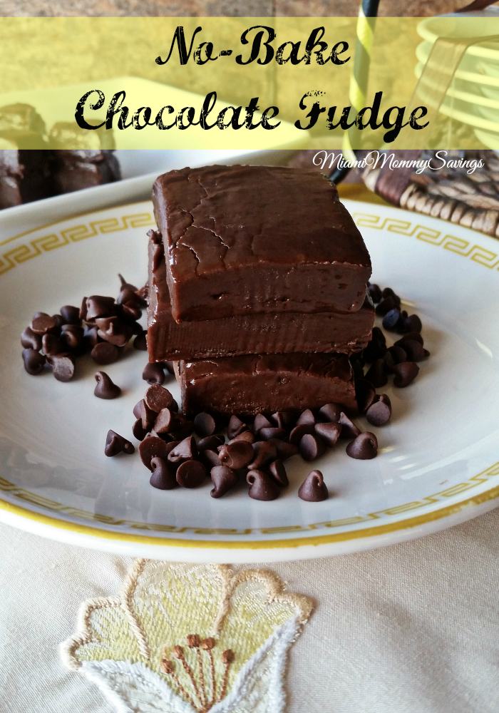 No-Bake Chocolate Fudge Recipe, more at MiamiMommySavings.com