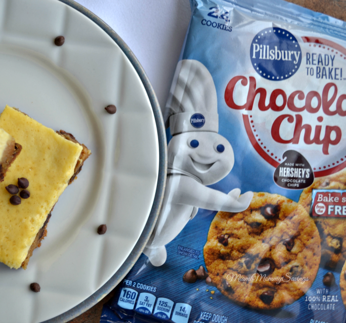 Chocolate Chip Cookie Cheesecake Bars, more at MiamiMommySavings.com