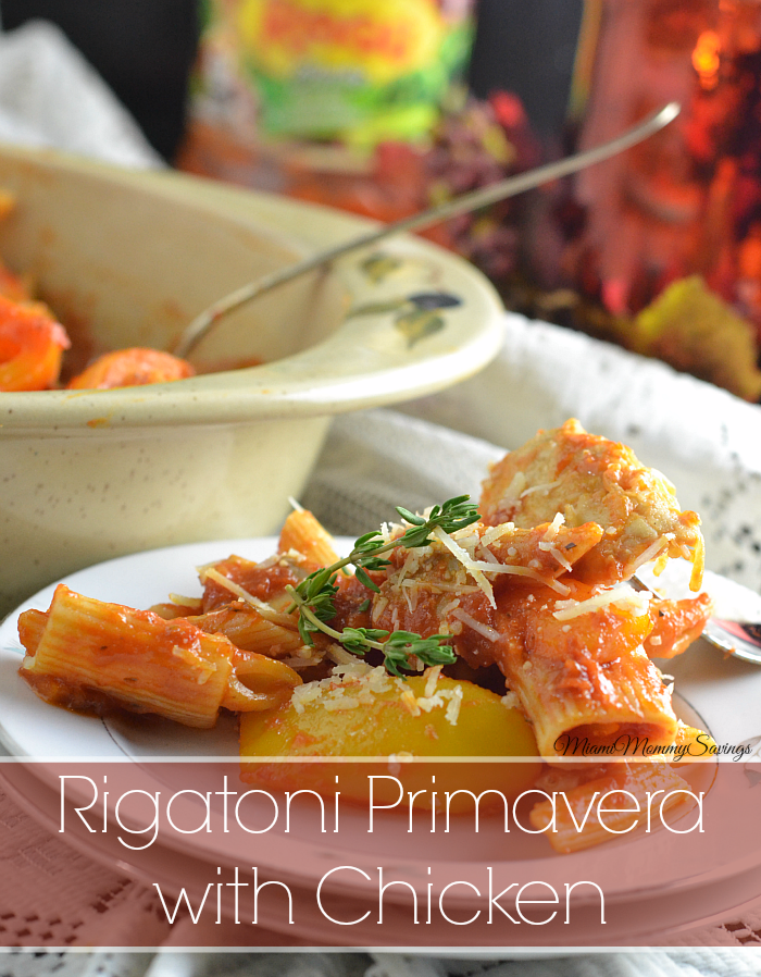 Rigatoni Primavera with Chicken Recipe, more at MiamiMommySavings.com