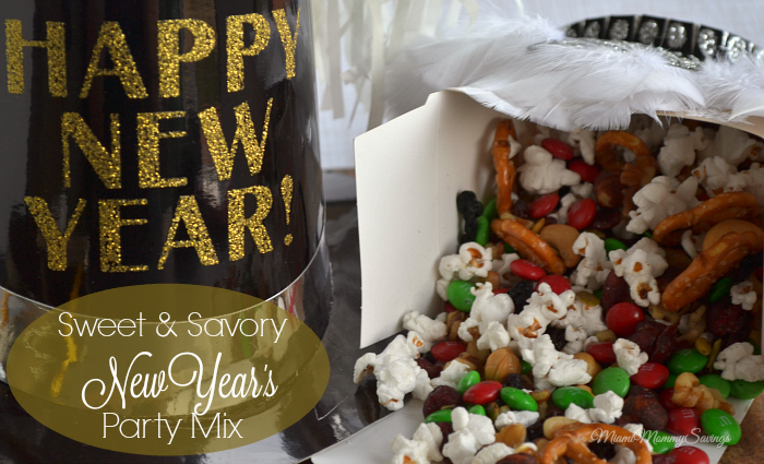 Sweet and Savory New Year's Party Mix. Looking for a fast and easy treat for your new year's party? Grab this easy and delicious Sweet and Savory New Year's Party Mix recipe! You can make it in just 5 minutes! More at MiamiMommySavings.com