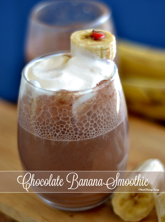 Check out this creamy, Chocolatey, Banana Smoothie made with ONLY three ingredients, more at MiamiMommySavings.com
