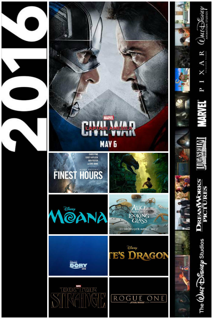 Walt Disney Studios Motion Pictures Slate 2016, More at MiamiMommySavings.com