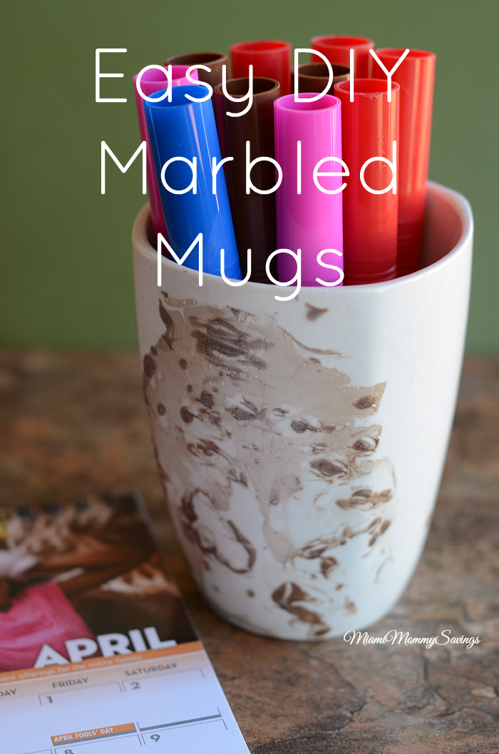 Make your day more colorful with these Easy DIY Marbled Mugs. Learn more at MiamiMommySavings.com