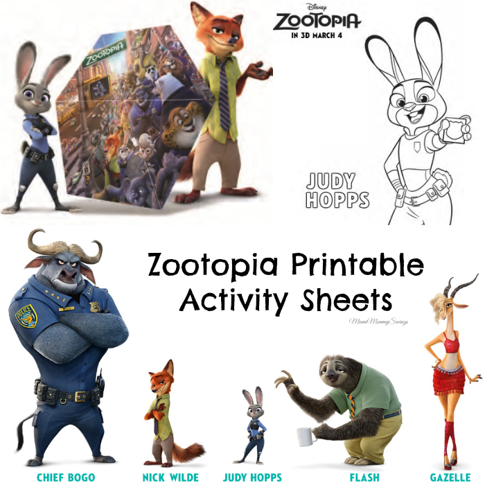Zootopia Printable Activity Sheets