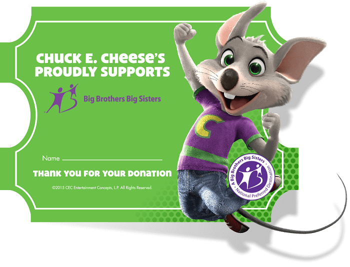 Big Brothers Big Sisters Fundraiser with Chuck E. Cheese + Giveaway