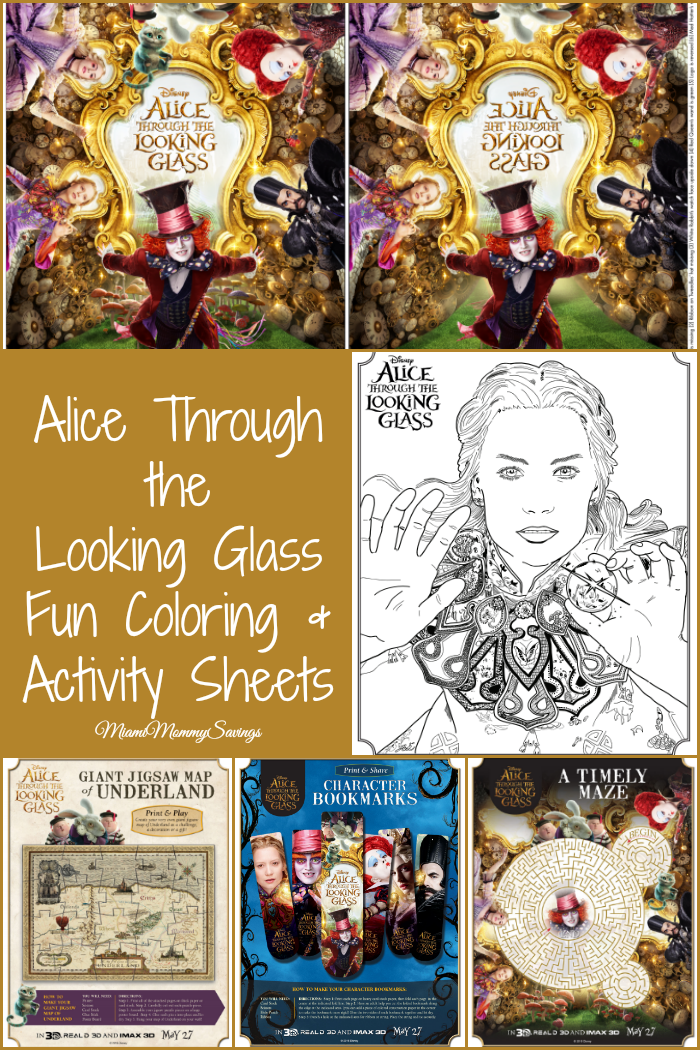 Alice Through the Looking Glass Fun coloring & activity sheets. Head over to MiamiMommySavings.com to print them all!