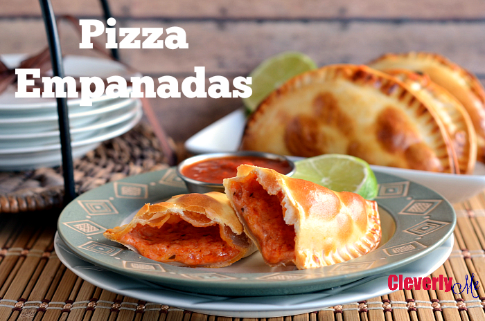 Enjoy these tender and flaky Cheese Pizza Empanadas recipe or calzones (stuffed pizza) snacks. They are filled with mozzarella cheese Parmesan cheese and tomato sauce. Get the recipe at CleverlyMe.com