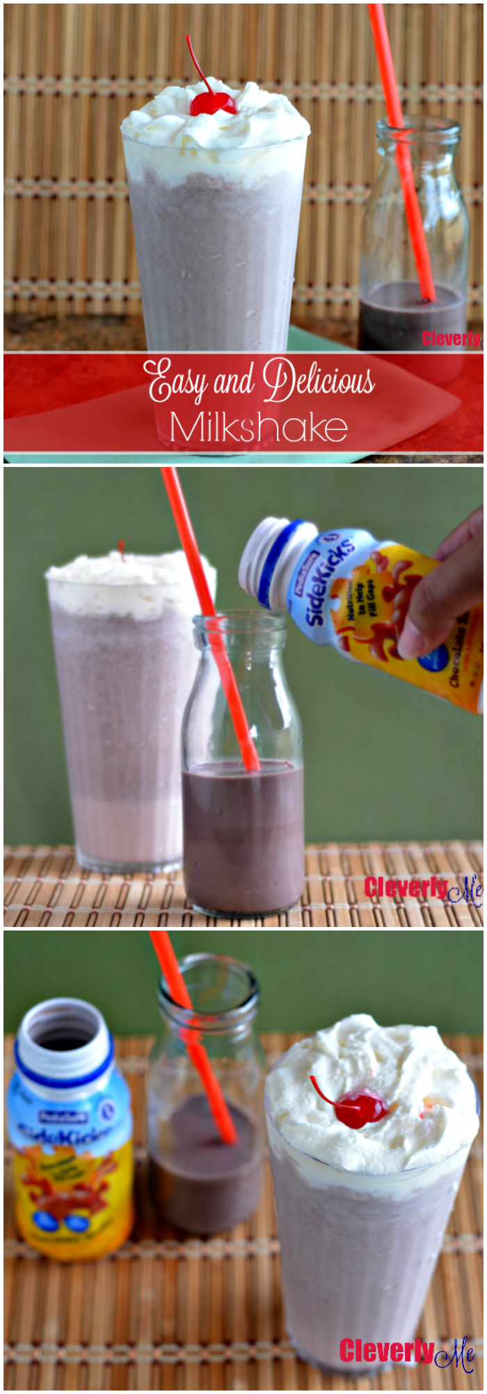 Enjoy this chocolatey milkshake that can be made in under 10 minutes with only 3 ingredients. Get this Easy and Delicious Milkshare recipe at CleverlyMe.com