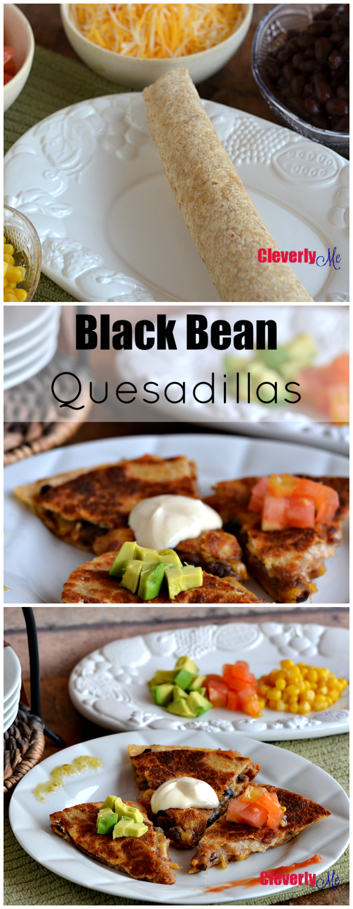 Learn how to make these cheesy and oh-so-delicious Black Bean Quesadillas. They are cheesy and super easy to prepare. Get the recipe at CleverlyMe.com