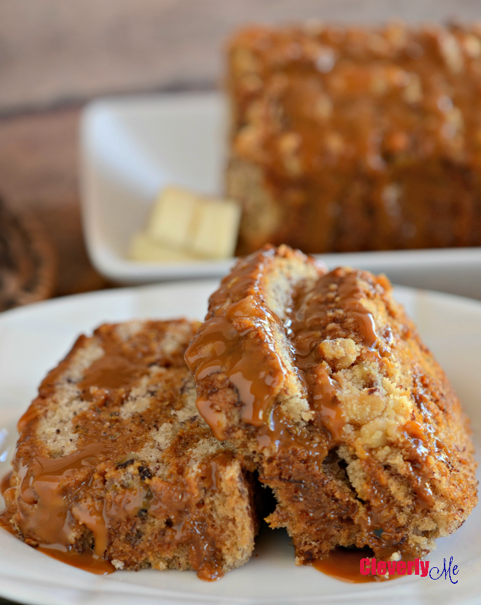 Enjoy this easy and delicious Dulce de Leche Banana Walnut bread for breakfast or as an afternoon treat. Get the recipe at cleverlyme.com