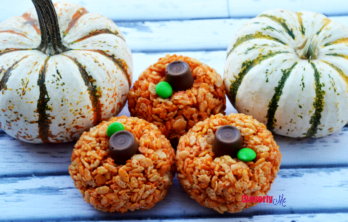 Enjoy this easy, very kid friendly recipe, and great for your Fall celebrations, Rice Krispie Pumpkin Treats Recipe. More at CleverlyMe.com