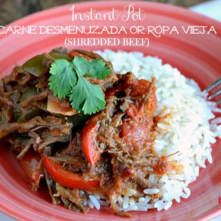 Instant Pot Carne Desmenuzada or Ropa Vieja (Shredded Beef)
