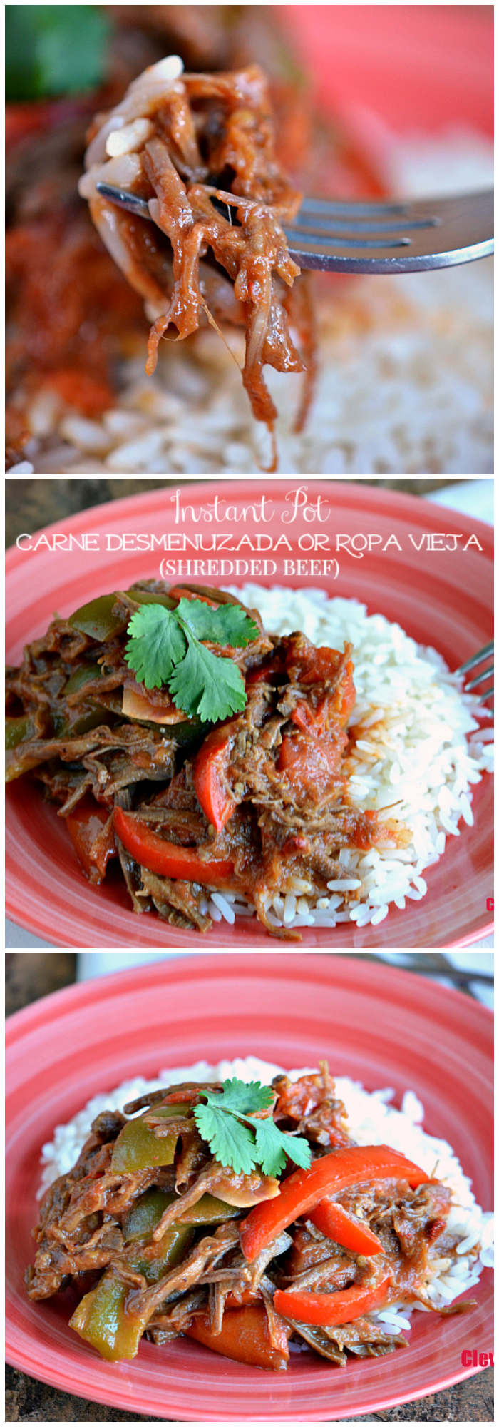Make this easy Nicaraguan-inspired Instant Pot Carne Desmenuzada or Ropa Vieja (Shredded Beef) any day of the week in under 20 minutes! Get the recipe at CleverlyMe.com