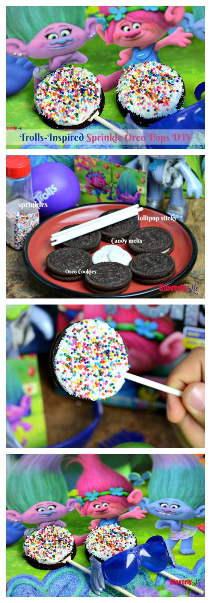 Enjoy these Trolls-Inspired Sprinkle Oreo Pops DIY perfect for Valentine's day, kids' birthday party or any day of the year. More at CleverlyMe.com