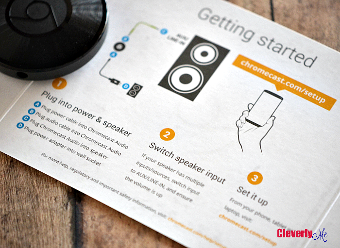 Cast your favorite music to your speakers. Learn more through our Google Chromecast Audio Experience. More at CleverlyMe.com