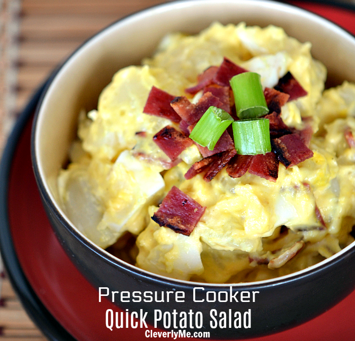 Use your pressure cooker to prepare this Pressure Cooker Quick Potato Salad Recipe, it is easier than you'll get from boiling the potatoes, plus simply delicious! More at CleverlyMe.com