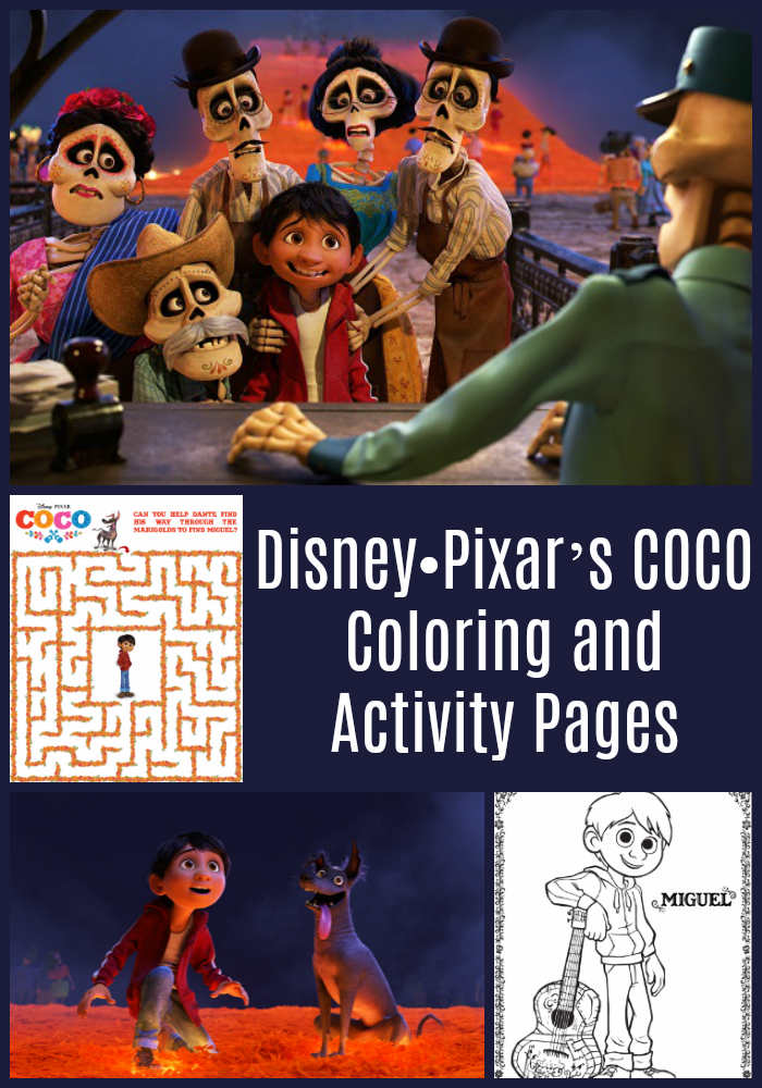 Disney•Pixar's COCO - Coloring and Activity Pages. To print your PDF copy, please visit CleverlyMe.com