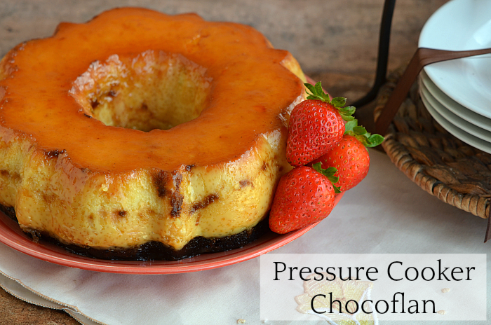 This delicious Pressure Cooker Chocoflan Recipe is part flan caramel custard and part chocolate cake and it only takes 20 minutes to make. More at CleverlyMe.com