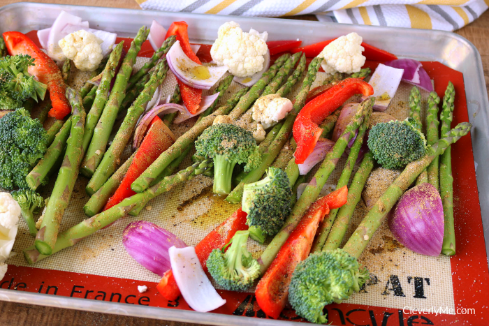 Enjoy this deliciously simple Sheet Pan Roasted Vegetables Recipe with any meal or on its own. More at CleverlyMe.com