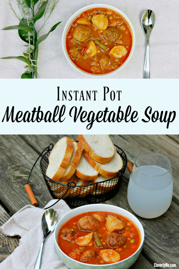 Looking for a delicious meatball vegetable soup recipe you can make in your Instant Pot? Look no further and make this delicious Instant Pot Meatball Vegetable Soup Recipe loaded with meatballs, jalapeños, tomatoes, potatoes and more! More at CleverlyMe.com