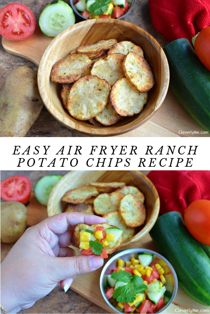 Looking for an easy and delicious ranch potato chips recipe? Then, you have to try this super Easy Air Fryer Ranch Potato Chips Recipe. This recipe is sure to be a huge crowd-pleaser. Full recipe at CleverlyMe.com