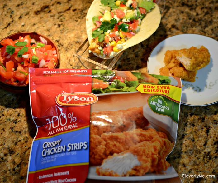 Skip the takeout and try this super Easy Tyson® Crispy Chicken Strips Tacos recipe, perfect for a quick lunch or dinner and the best part of all, the entire family will love them! Find the recipe at CleverlyMe.com