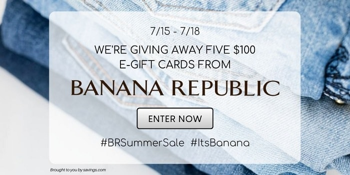 Score great deals for everyone on your summer list during Banana Republic's Summer Sale 2020, where you can save up to 75% Off sale styles and enter for your chance to win one of five $100 e-gift cards. More at CleverlyMe.com
