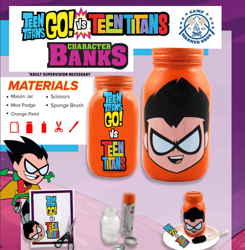 It's week 5 of our 8 Weeks of Fun Virtual Summer Camp Activities with Warner Bros. and this week, we are having fun making a fun mason jar piggy bank activity. More at CleverlyMe.com