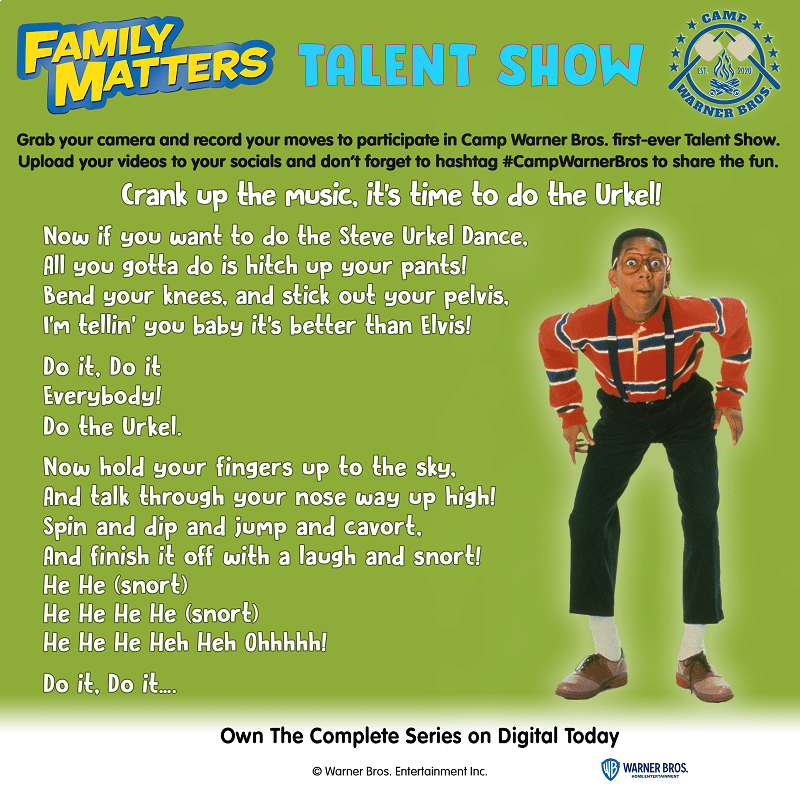 """Let's celebrate the last week of camp by showcasing your best dance moves with a fun Family Talent Show Week: """"Do The Urkel."""" More at CleverlyMe.com"""